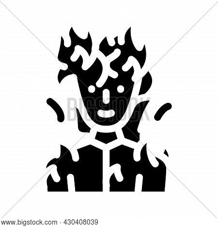 Burning Man Fantasy Character Glyph Icon Vector. Burning Man Fantasy Character Sign. Isolated Contou