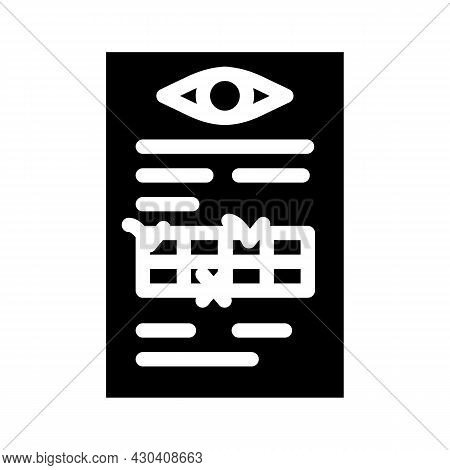Anamnesis Ophthalmology Glyph Icon Vector. Anamnesis Ophthalmology Sign. Isolated Contour Symbol Bla