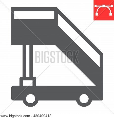 Airport Ladder Glyph Icon, Transport And Airport, Plane Ladder Vector Icon, Vector Graphics, Editabl