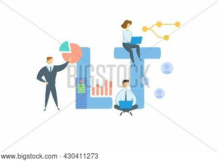 Lt, Long Term. Concept With Keyword, People And Icons. Flat Vector Illustration. Isolated On White.