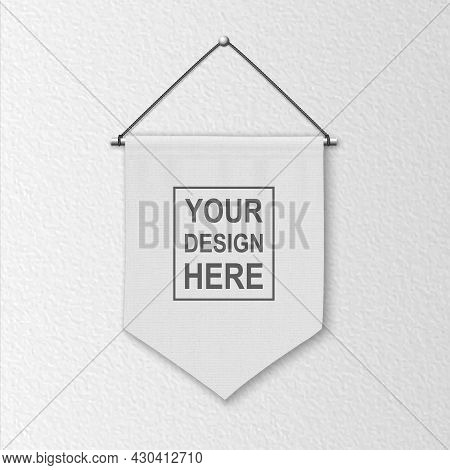 Vector 3d Realistic Blank White Pennant Wall Hanging, Design Template, Mockup. Linen Pennant Closeup