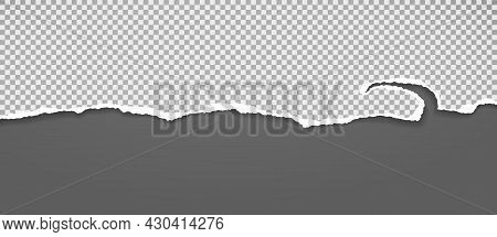 Torn, Ripped Squared Paper Strip With Soft Shadow Is On Dark Grey Background For Text. Vector Illust