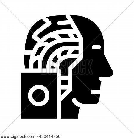 Artificial Intelligence Robot Glyph Icon Vector. Artificial Intelligence Robot Sign. Isolated Contou