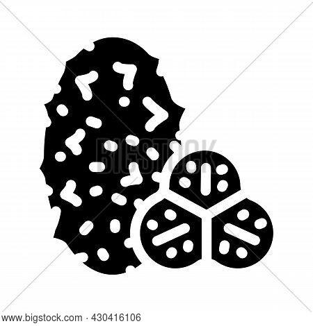 Horned Melon Fruit Glyph Icon Vector. Horned Melon Fruit Sign. Isolated Contour Symbol Black Illustr