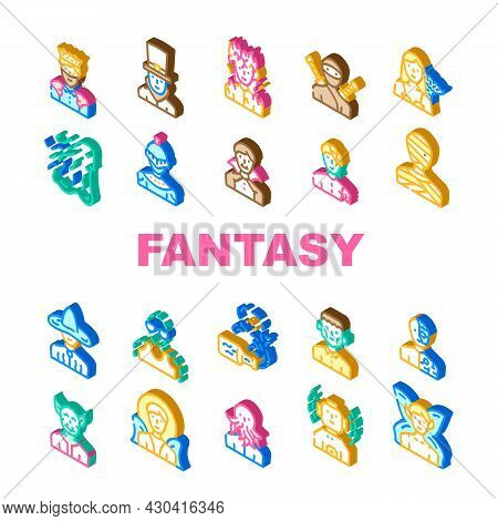 Fantasy And Magical Character Icons Set Vector. Zombie And Ghost, Angel And King, Burning And And Fr