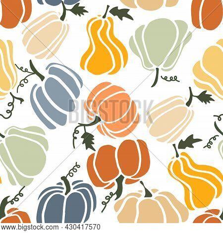 Pumpkins Seamless Pattern. Fall Season Illustration. October Harvest. Thanksgiving. Vector Fashion B