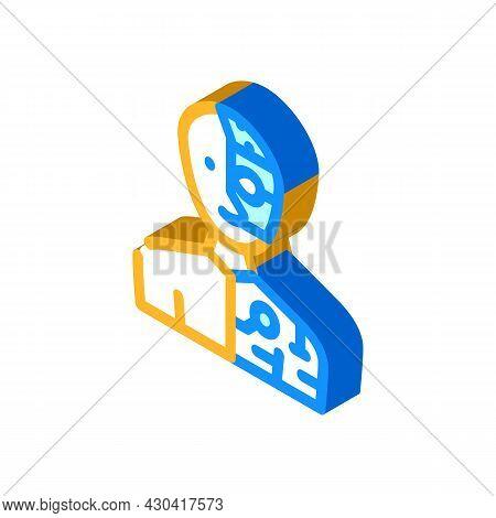 Cyborg Fantasy Character Isometric Icon Vector. Cyborg Fantasy Character Sign. Isolated Symbol Illus