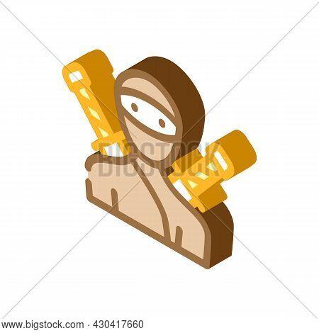 Ninja Fantasy Character Isometric Icon Vector. Ninja Fantasy Character Sign. Isolated Symbol Illustr