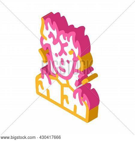 Burning Man Fantasy Character Isometric Icon Vector. Burning Man Fantasy Character Sign. Isolated Sy