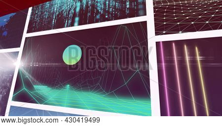 Composite image of nine scrolling business, leisure and technology screens. global communication, business, technology and leisure, digital interface concept digitally generated image.