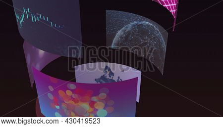 Composite image of rotating tube of business, leisure and technology screens. global communication, business, technology and leisure, digital interface concept digitally generated image.