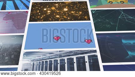 Composite image of multiple scrolling business, leisure and technology screens. global communication, business, technology and leisure, digital interface concept digitally generated image.