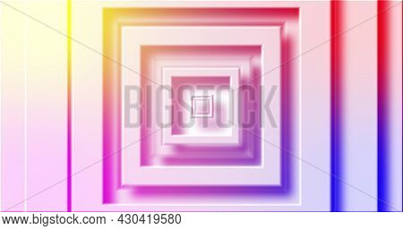 Image of rainbow coloured square layers pulsating on white background. pattern, colour and movement concept digitally generated image.