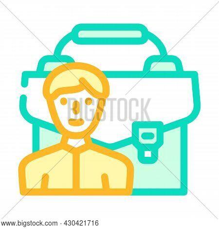 Portfolio Employee Color Icon Vector. Portfolio Employee Sign. Isolated Symbol Illustration