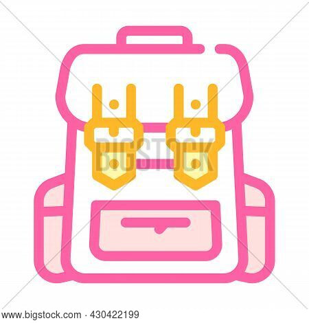 Backpack Accessory Color Icon Vector. Backpack Accessory Sign. Isolated Symbol Illustration