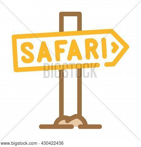 Direction Safari Nameplate Color Icon Vector. Direction Safari Nameplate Sign. Isolated Symbol Illus