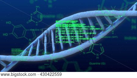 Image of medical data processing with structural formulae of chemical compounds and 3d DNA strand turning on blue background. Science research medicine genetics concept digital composite.