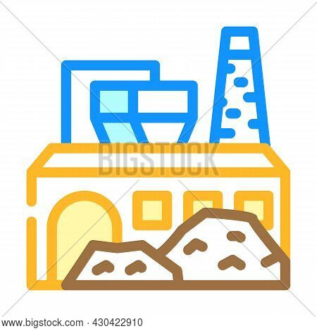 Industrial Processing Solid Waste Color Icon Vector. Industrial Processing Solid Waste Sign. Isolate