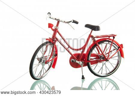 Red ladies bike isolated over white background