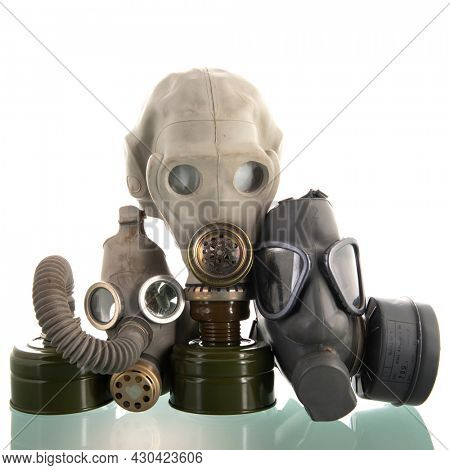 Military gaz masks isolated over white background