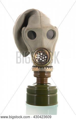 Military gaz mask isolated over white background