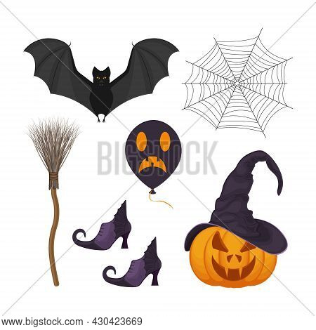 A Festive Set With Halloween Symbols, Such As A Pumpkin Lantern In A Witch S Hat, A Witch S Broom, W