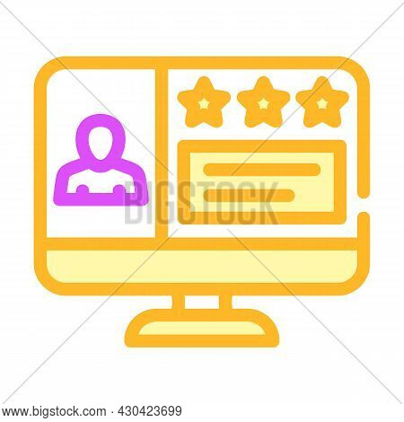 Review Video Call Color Icon Vector. Review Video Call Sign. Isolated Symbol Illustration