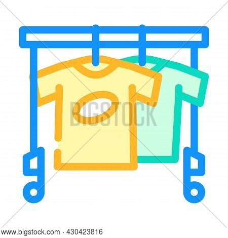 Wardrobe With Clothes For Actor Color Icon Vector. Wardrobe With Clothes For Actor Sign. Isolated Sy