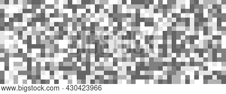 Seamless Pattern Of Squares In Black, White And Gray Shades. Pixel Seamless Pattern For Posters, Ban