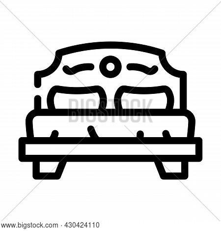Bedroom Furniture Line Icon Vector. Bedroom Furniture Sign. Isolated Contour Symbol Black Illustrati