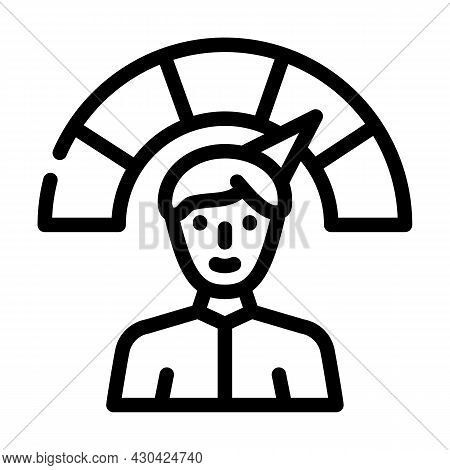 Positive Employee Level Line Icon Vector. Positive Employee Level Sign. Isolated Contour Symbol Blac