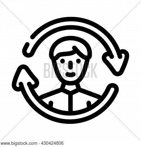 Updating Employee Line Icon Vector. Updating Employee Sign. Isolated Contour Symbol Black Illustrati