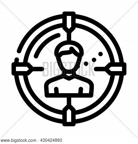 Headhunting Employee Line Icon Vector. Headhunting Employee Sign. Isolated Contour Symbol Black Illu