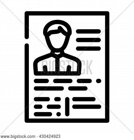 Application Form Cv Line Icon Vector. Application Form Cv Sign. Isolated Contour Symbol Black Illust
