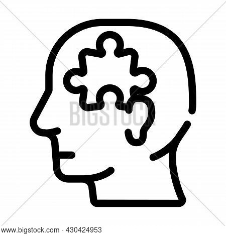 Puzzle Employee Problem And Task Line Icon Vector. Puzzle Employee Problem And Task Sign. Isolated C