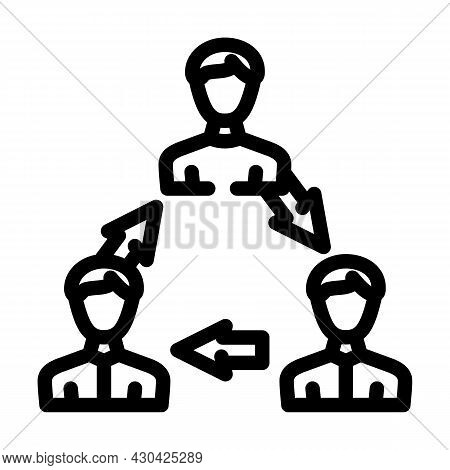 Interaction People Line Icon Vector. Interaction People Sign. Isolated Contour Symbol Black Illustra