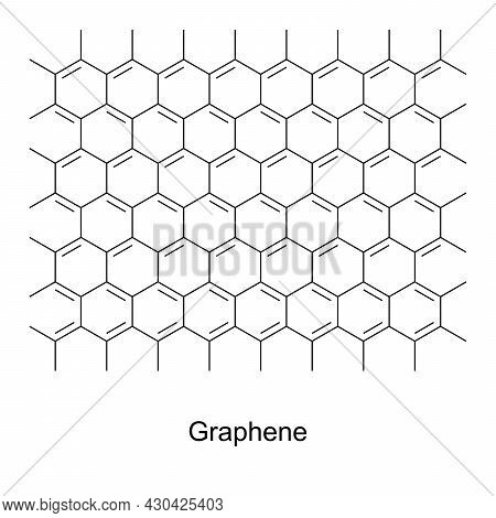 Graphene, Chemical Formula And Skeletal Structure. An Allotrope Of Carbon, Consisting Of A Single La