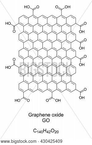 Graphene Oxide, Go, Edge-oxidized, Chemical Formula And Structure. A Nanomaterial, Made By The Oxida