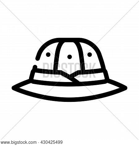 Hat Hunter Line Icon Vector. Hat Hunter Sign. Isolated Contour Symbol Black Illustration