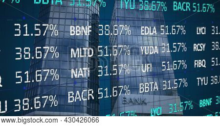Image of financial data processing over modern bank building. global finances, business and connection concept digitally generated image.