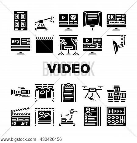 Video Production And Creation Icons Set Vector. Camera And Cart For Operator, Clapperboard And Telep