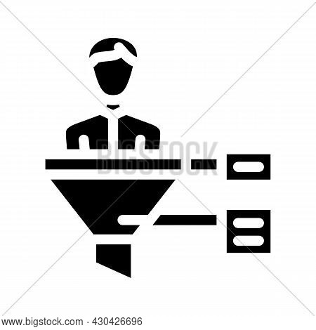 Funnel Candidate Glyph Icon Vector. Funnel Candidate Sign. Isolated Contour Symbol Black Illustratio