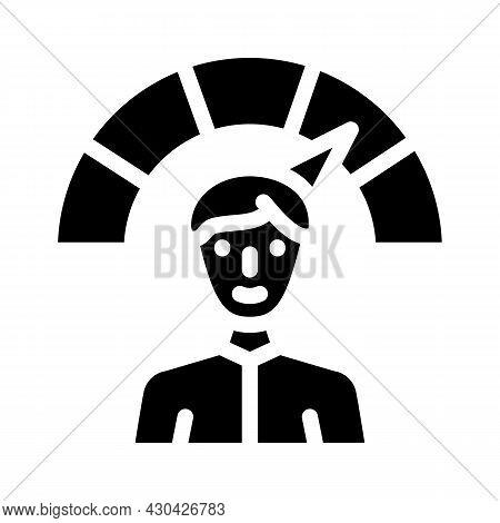 Positive Employee Level Glyph Icon Vector. Positive Employee Level Sign. Isolated Contour Symbol Bla