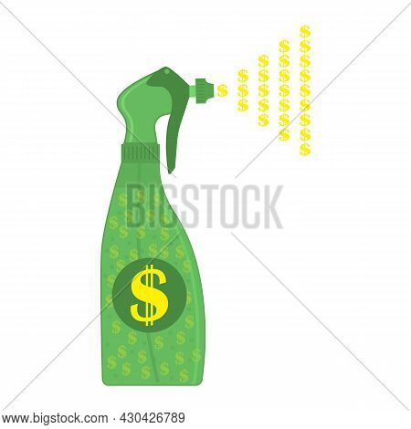 Spray Of Money And Dollars From A Sprayer. A Lot Of Money Is Sprayed From The Dispenser Nozzle Into