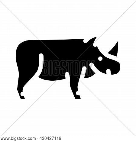 Rhinoceros Animal Glyph Icon Vector. Rhinoceros Animal Sign. Isolated Contour Symbol Black Illustrat