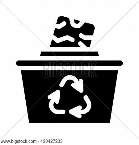 Reuse Solid Waste Glyph Icon Vector. Reuse Solid Waste Sign. Isolated Contour Symbol Black Illustrat