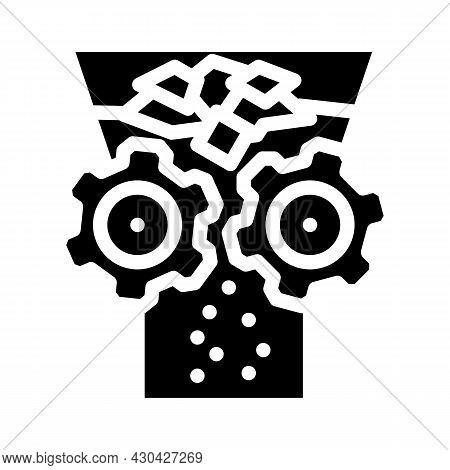 Shredding Solid Waste Glyph Icon Vector. Shredding Solid Waste Sign. Isolated Contour Symbol Black I
