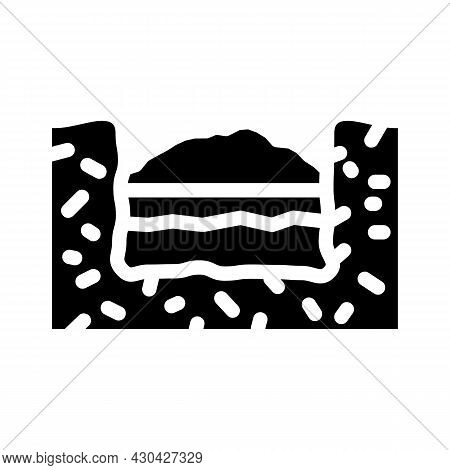 Burial Solid Waste Glyph Icon Vector. Burial Solid Waste Sign. Isolated Contour Symbol Black Illustr