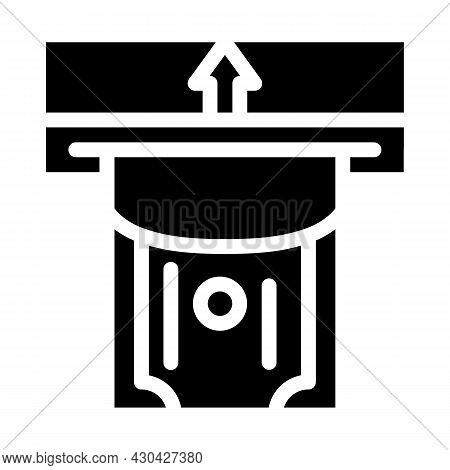 Paper Money Acceptance Glyph Icon Vector. Paper Money Acceptance Sign. Isolated Contour Symbol Black