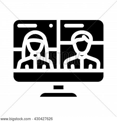 Video Conference Discussion Glyph Icon Vector. Video Conference Discussion Sign. Isolated Contour Sy